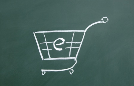 Electronic shopping cart drawn with chalk on blackboard Stock Photo - 12049220