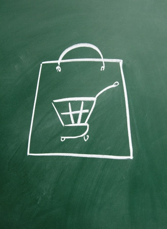 shopping bags drawn with chalk on blackboard Stock Photo - 12049301