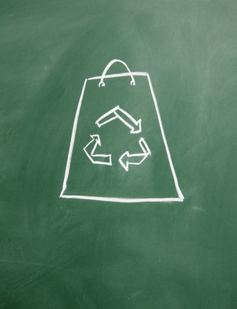 Reusable shopping bags drawn with chalk on blackboard Stock Photo - 12049296