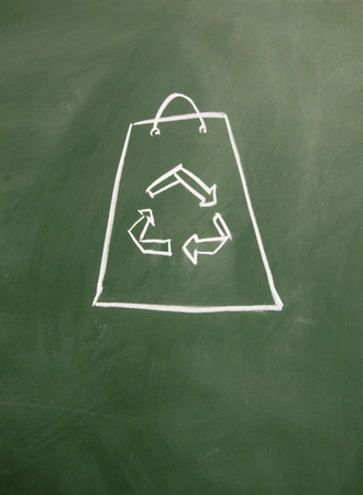 scrap trade: Reusable shopping bags drawn with chalk on blackboard Stock Photo