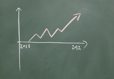 chart drawn with chalk on blackboard Stock Photo - 12049168