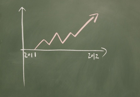 chart drawn with chalk on blackboard Stock Photo - 12049177