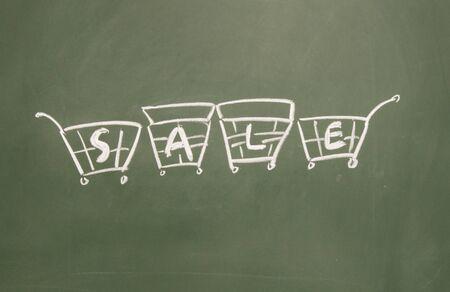 sale title drawn chalk on blackboard Stock Photo - 12049199