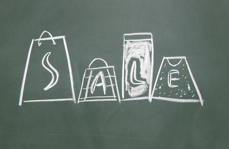 sale title drawn chalk on blackboard Stock Photo - 12049206