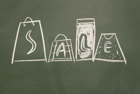 sale title drawn chalk on blackboard photo