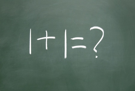 1+1=? title written with chalk on blackboard Stock Photo - 12049236
