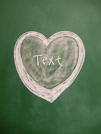 text title and heart sign drawn with chalk on blackboard photo