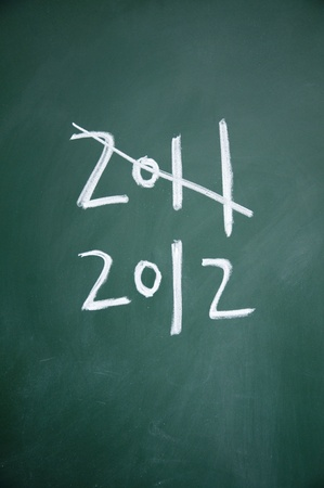 2011 and 2012 title written with chalk on blackboard photo