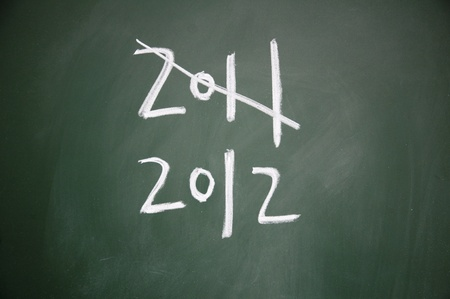 projet: 2011 and 2012 title written with chalk on blackboard