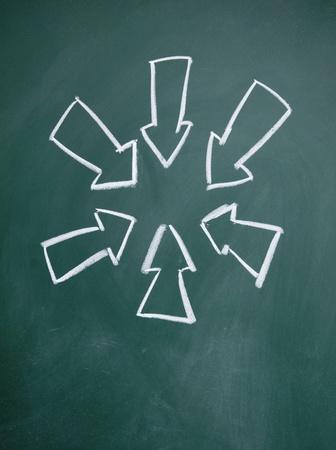 blankness: arrows drawn with chalk on blackboard