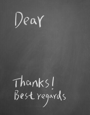 Letter format written with chalk on blackboard Stock Photo - 12648300