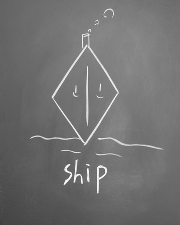 ship sign drawn with chalk on blackboard photo