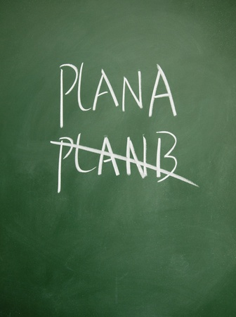 projet: planA and planB title written with chalk on blackboard