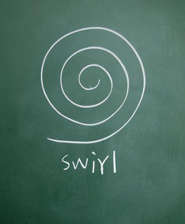 swirl drawn chalk on blackboard