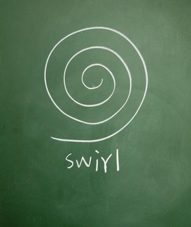swirl drawn chalk on blackboard Stock Photo - 12649216