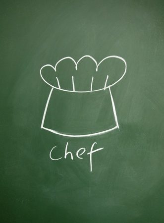 chef sign drawn with chalk on blackboard photo