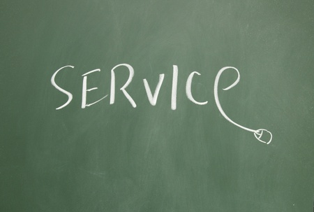 service title written with chalk on blackboard photo