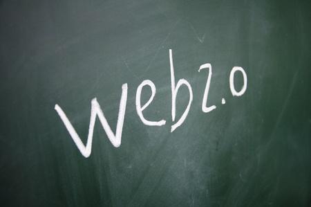 web sign written with chalk on blackboard photo