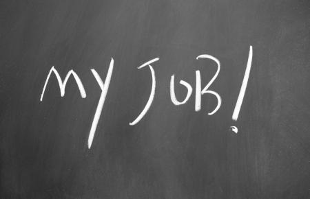 my job title written with chalk on blackboard photo