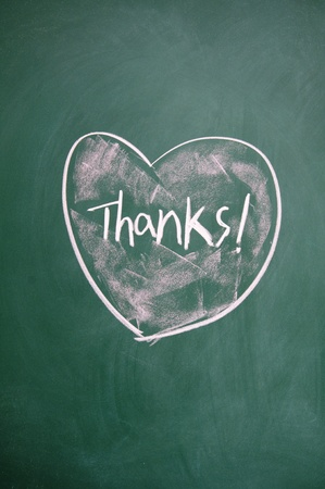 thanks title and heart sign drawn with chalk on blackboard photo