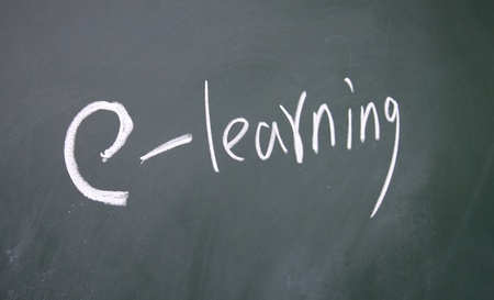 e learning title drawn with chalk on blackboard photo