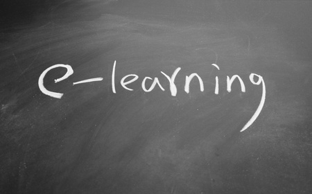 e learning title drawn with chalk on blackboard Stock Photo - 12648618