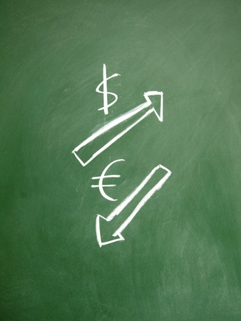 dollar and euro sign drawn with chalk on blackboard photo