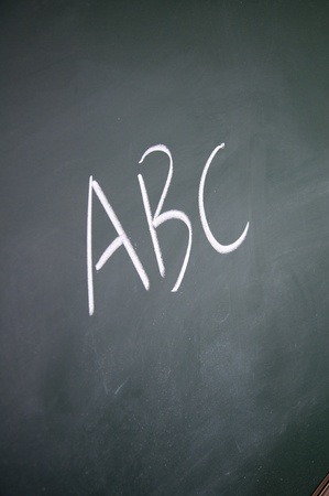 abc title written with chalk on blackboard photo