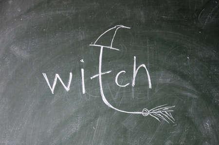 mirk: witch title drawn with chalk on blackboard
