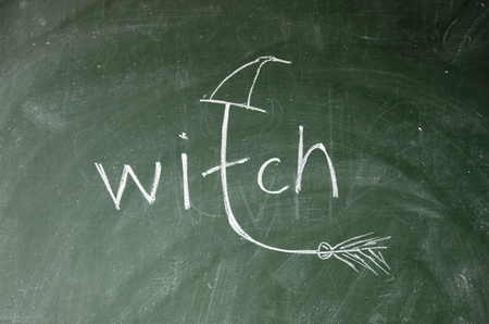 witch title drawn with chalk on blackboard