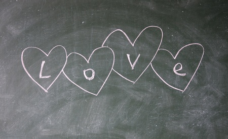 love title written with chalk on blackboard photo