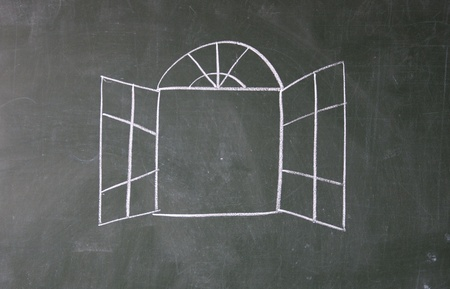 window drawn with chalk on blackboard photo
