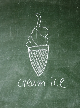 cream ice drawn with chalk on blackboard photo