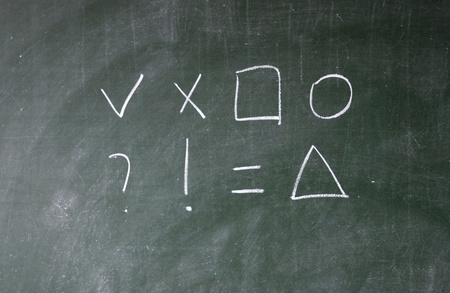 Arithmetic symbols drawn with chalk on blackboard photo