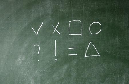 blunder: Arithmetic symbols drawn with chalk on blackboard