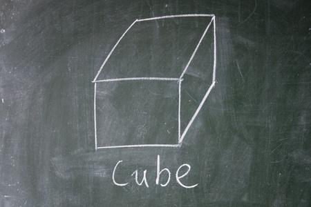 cube drawn with chalk on blackboard photo