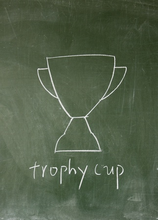 trophy cup drawn with chalk on blackboard photo
