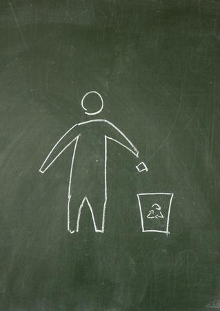 Environmental symbol drawn with chalk on blackboard Stock Photo