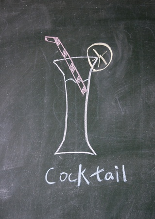cocktail drawn with chalk on blackboard photo