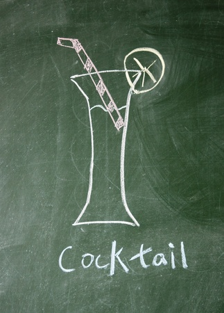 cocktail drawn with chalk on blackboard Stock Photo - 12649228