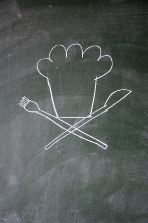 chef sign drawn with chalk on blackboard Stock Photo - 12649578