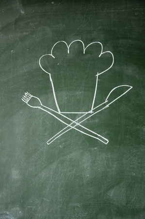 chef sign drawn with chalk on blackboard Stock Photo - 12649542