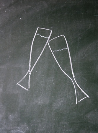 glass drawn with chalk on blackboard photo