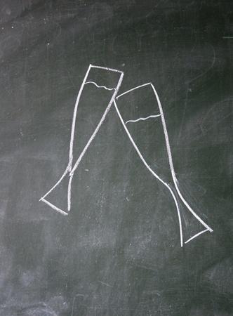 glass drawn with chalk on blackboard Stock Photo - 12649312