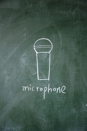microphone drawn with chalk on blackboard photo
