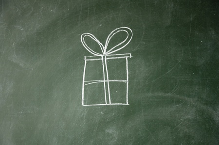 gift sign drawn with chalk on blackboard photo