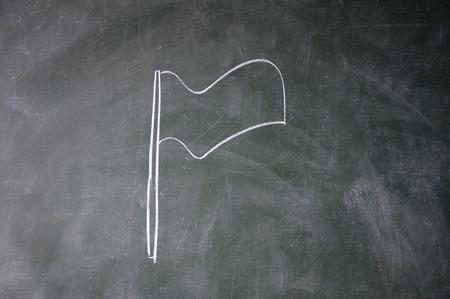 flag drawn with chalk on blackboard photo