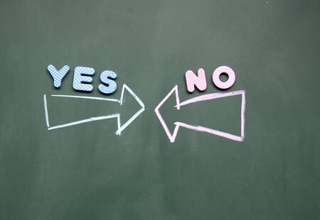 antithesis: yes and no arrows Stock Photo