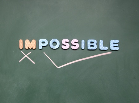 possible: impossible and possible sign Stock Photo