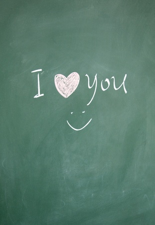 I love you sign drawn with chalk on blackboard